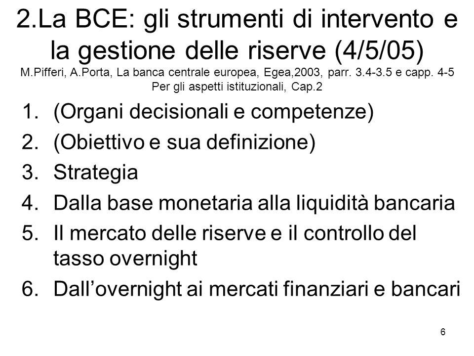 6 2.La BCE: gli strumenti di intervento e la gestione delle riserve (4/5/05) M.Pifferi, A.Porta, La banca centrale europea, Egea,2003, parr. 3.4-3.5 e