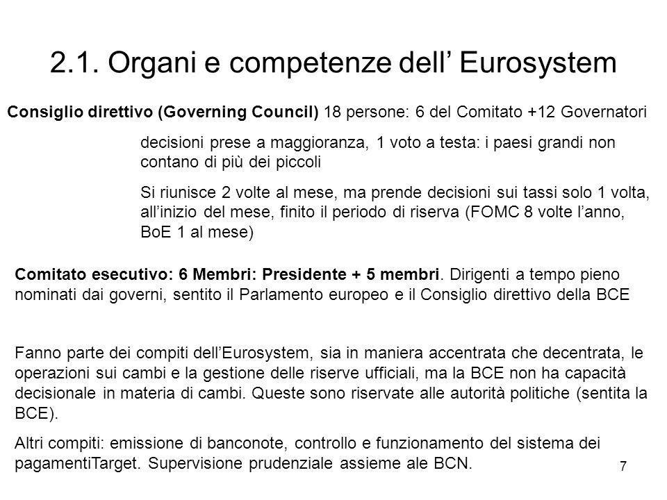 7 2.1. Organi e competenze dell Eurosystem Consiglio direttivo (Governing Council) 18 persone: 6 del Comitato +12 Governatori decisioni prese a maggio