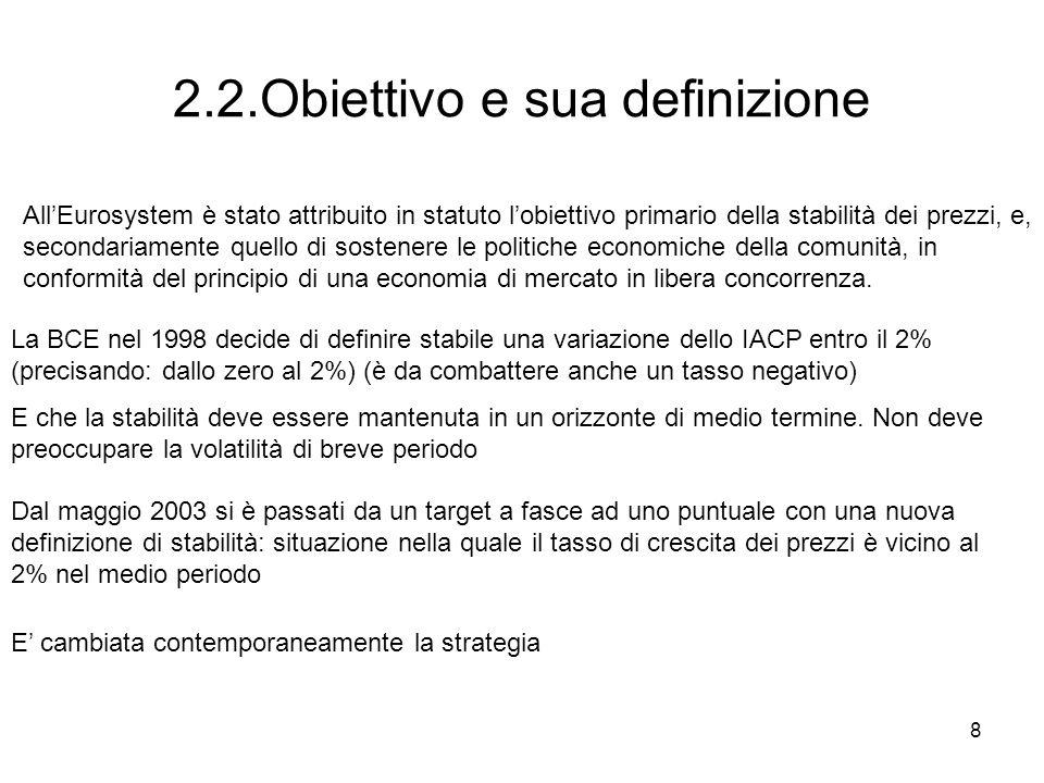 8 2.2.Obiettivo e sua definizione AllEurosystem è stato attribuito in statuto lobiettivo primario della stabilità dei prezzi, e, secondariamente quell