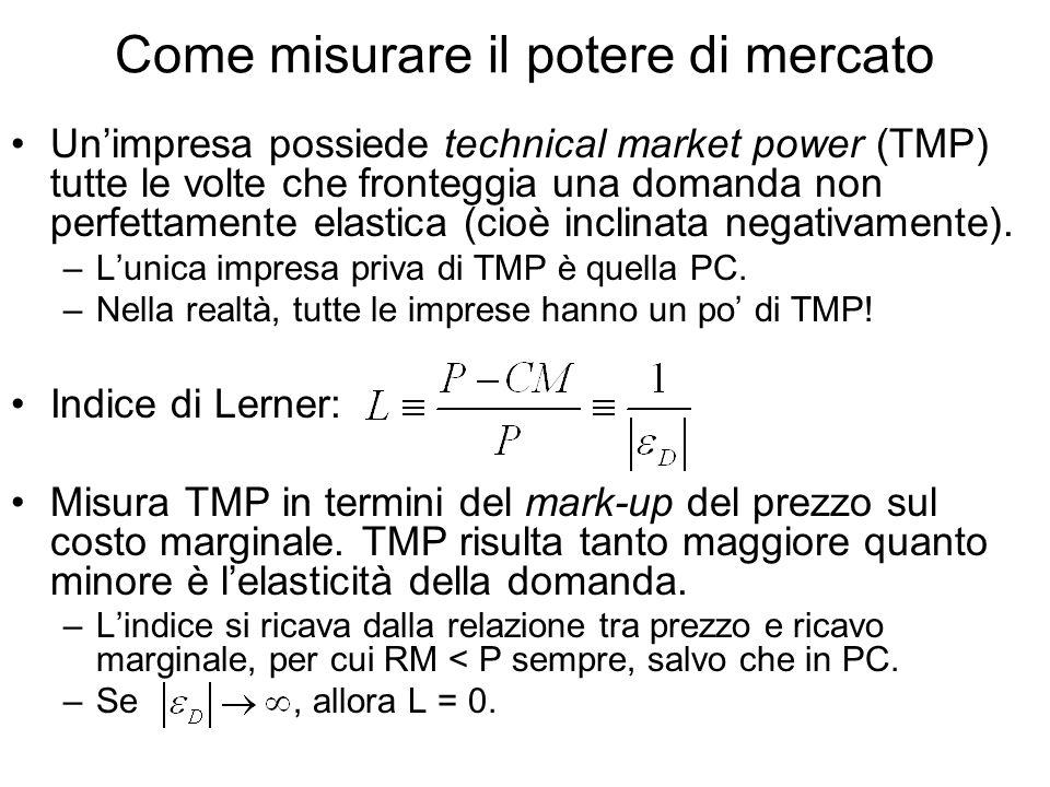 Come misurare il potere di mercato Unimpresa possiede technical market power (TMP) tutte le volte che fronteggia una domanda non perfettamente elastica (cioè inclinata negativamente).