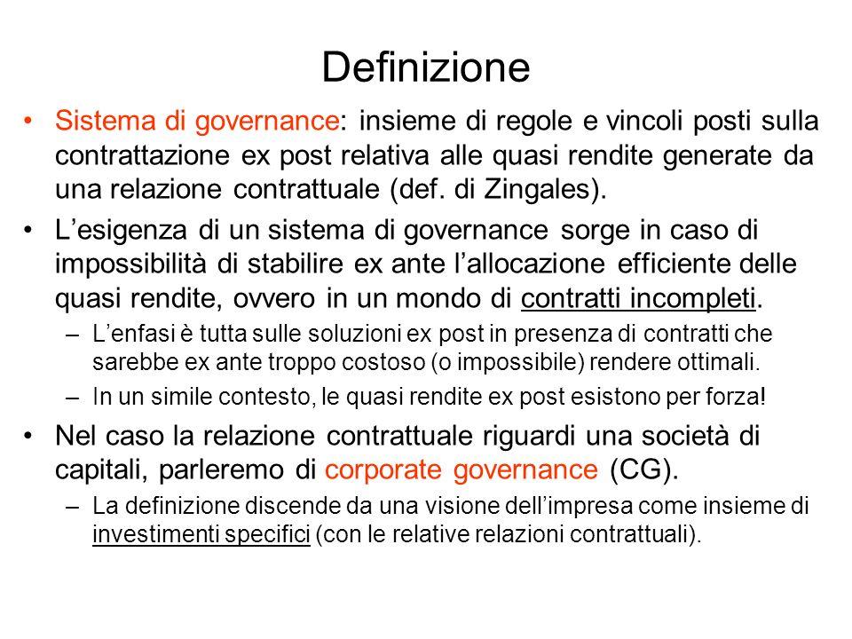 Definizione Sistema di governance: insieme di regole e vincoli posti sulla contrattazione ex post relativa alle quasi rendite generate da una relazion