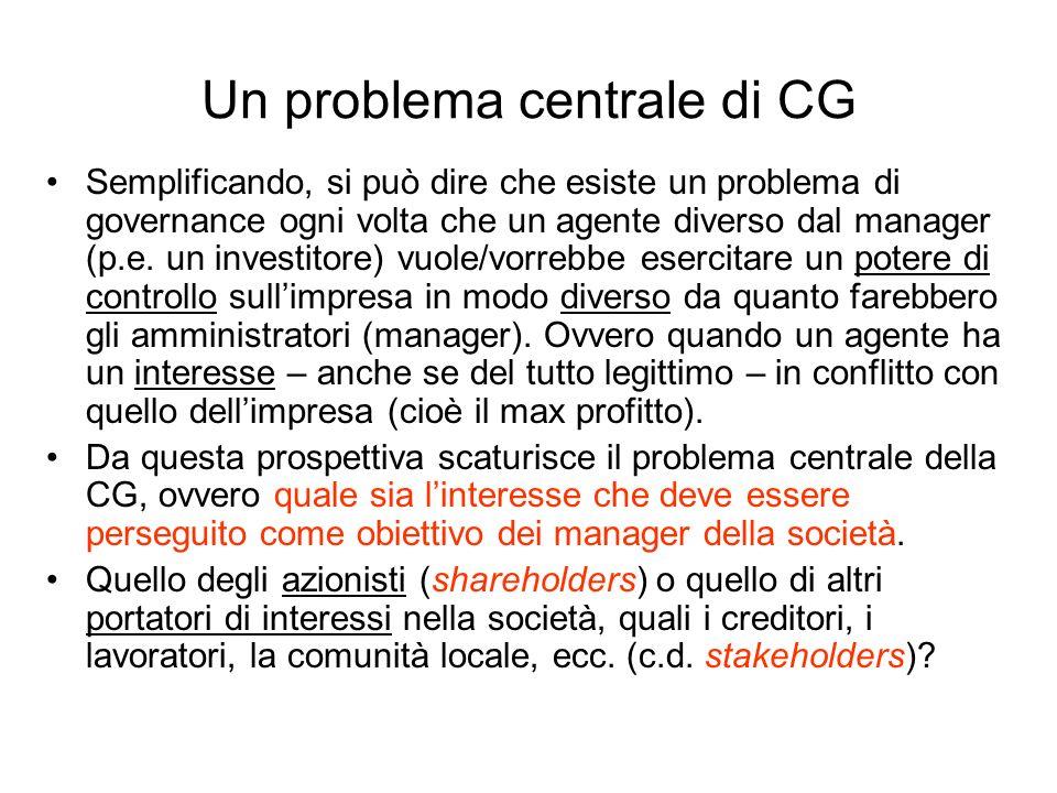 Un problema centrale di CG Semplificando, si può dire che esiste un problema di governance ogni volta che un agente diverso dal manager (p.e. un inves