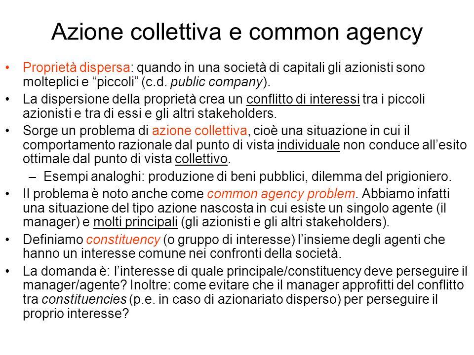Azione collettiva e common agency Proprietà dispersa: quando in una società di capitali gli azionisti sono molteplici e piccoli (c.d. public company).
