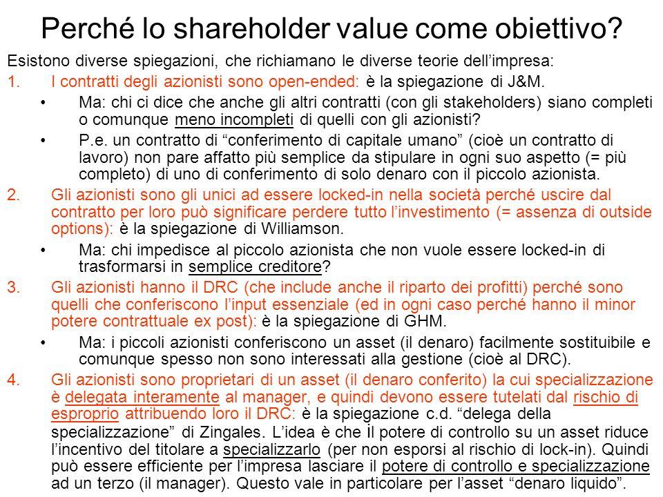 Perché lo shareholder value come obiettivo? Esistono diverse spiegazioni, che richiamano le diverse teorie dellimpresa: 1.I contratti degli azionisti