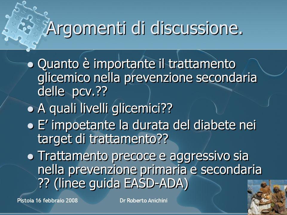 Pistoia 16 febbraio 2008Dr Roberto Anichini Argomenti di discussione.