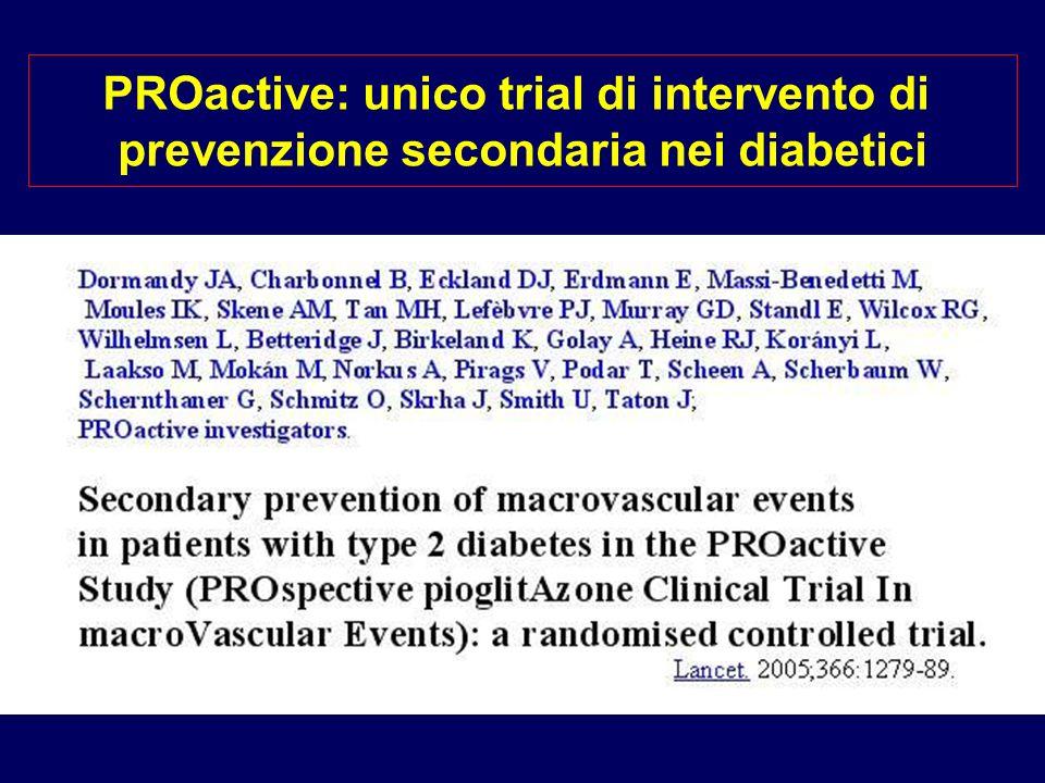 PROactive: unico trial di intervento di prevenzione secondaria nei diabetici