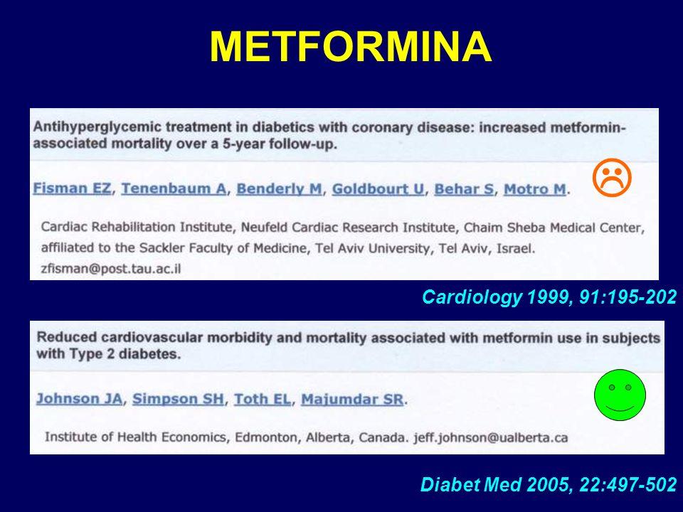 METFORMINA Diabet Med 2005, 22:497-502 Cardiology 1999, 91:195-202