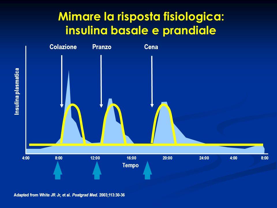 Mimare la risposta fisiologica: insulina basale e prandiale ColazionePranzoCena 4:008:0012:0016:0020:0024:004:008:00 Insulina plasmatica Tempo Adapted