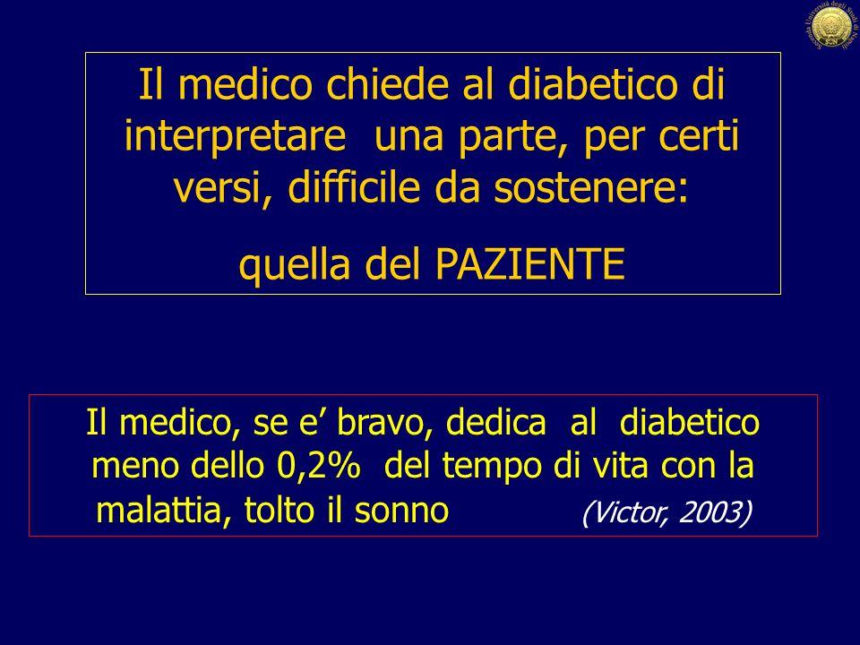 Il medico chiede al diabetico di interpretare una parte, per certi versi, difficile da sostenere: quella del PAZIENTE Il medico, se e bravo, dedica al