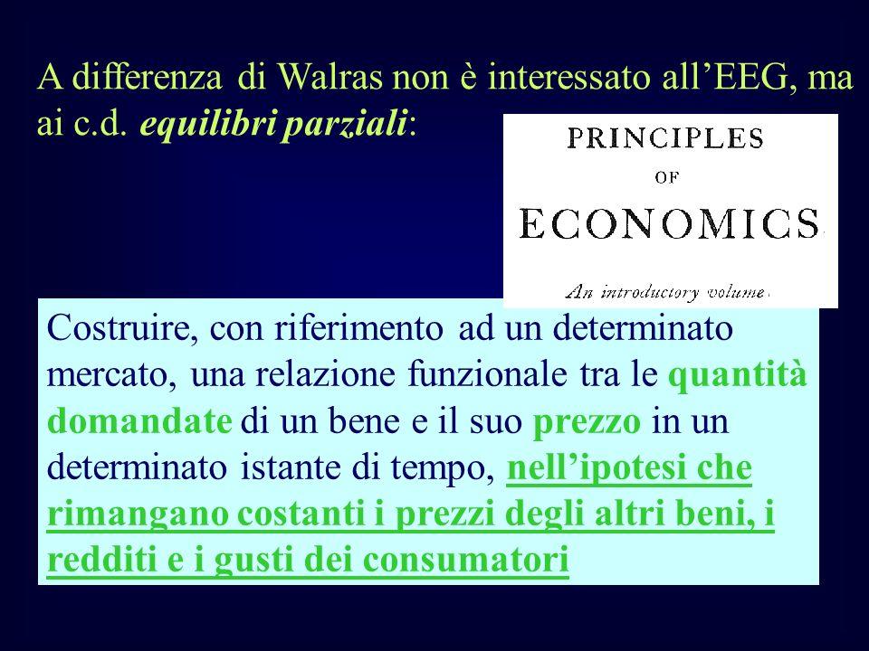 A differenza di Walras non è interessato allEEG, ma ai c.d. equilibri parziali: Costruire, con riferimento ad un determinato mercato, una relazione fu