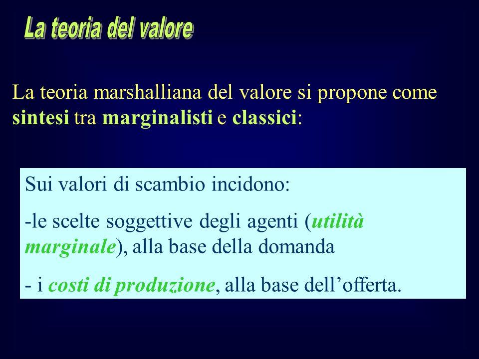 La teoria marshalliana del valore si propone come sintesi tra marginalisti e classici: Sui valori di scambio incidono: -le scelte soggettive degli age