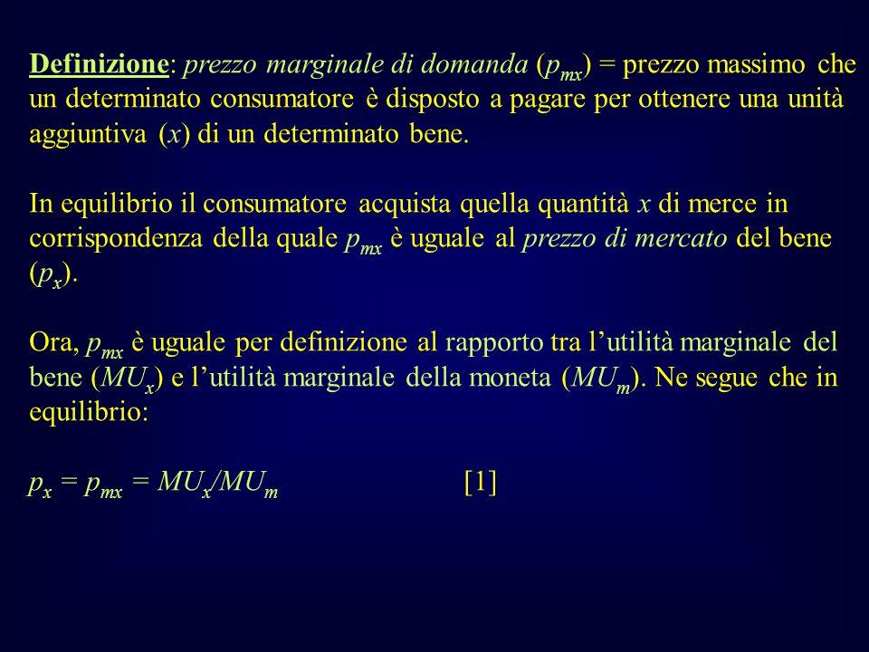 Definizione: prezzo marginale di domanda (p mx ) = prezzo massimo che un determinato consumatore è disposto a pagare per ottenere una unità aggiuntiva