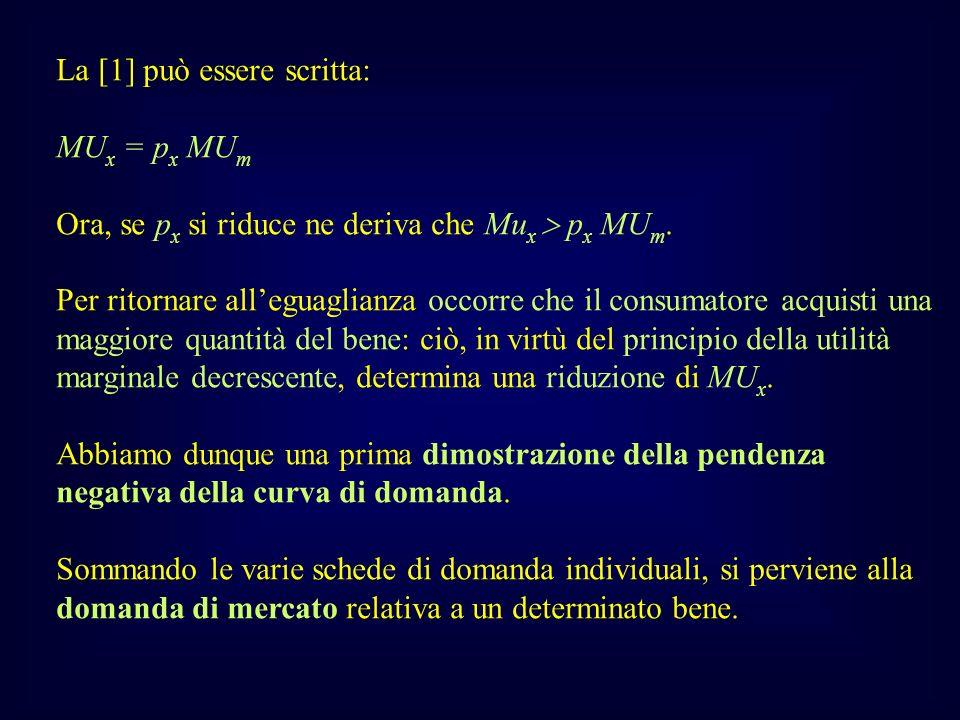 La [1] può essere scritta: MU x = p x MU m Ora, se p x si riduce ne deriva che Mu x p x MU m. Per ritornare alleguaglianza occorre che il consumatore
