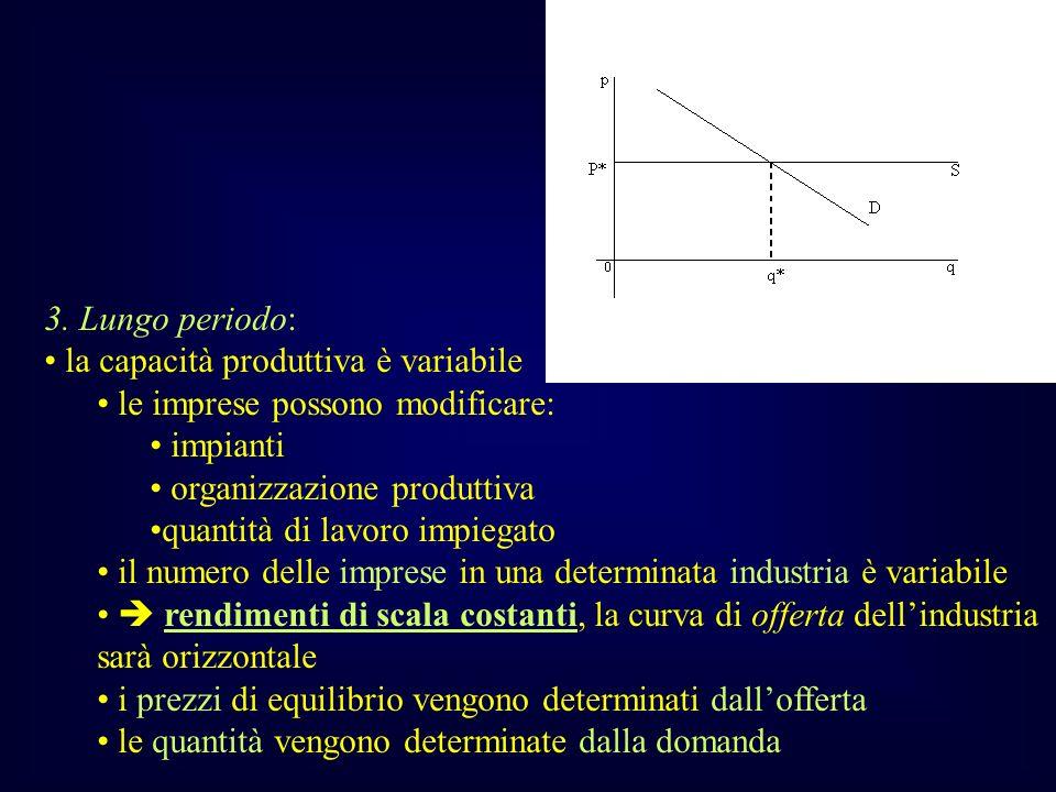 3. Lungo periodo: la capacità produttiva è variabile le imprese possono modificare: impianti organizzazione produttiva quantità di lavoro impiegato il