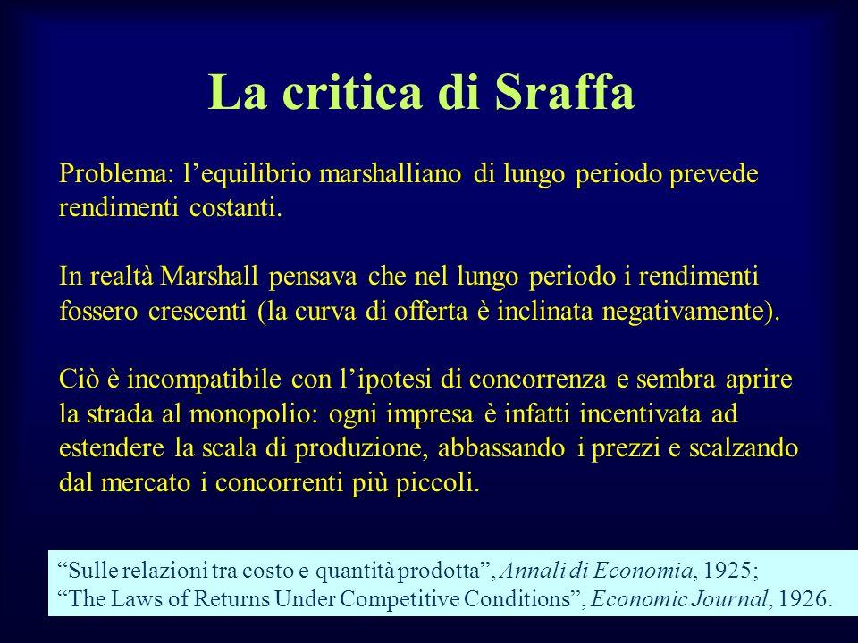 La critica di Sraffa Problema: lequilibrio marshalliano di lungo periodo prevede rendimenti costanti. In realtà Marshall pensava che nel lungo periodo