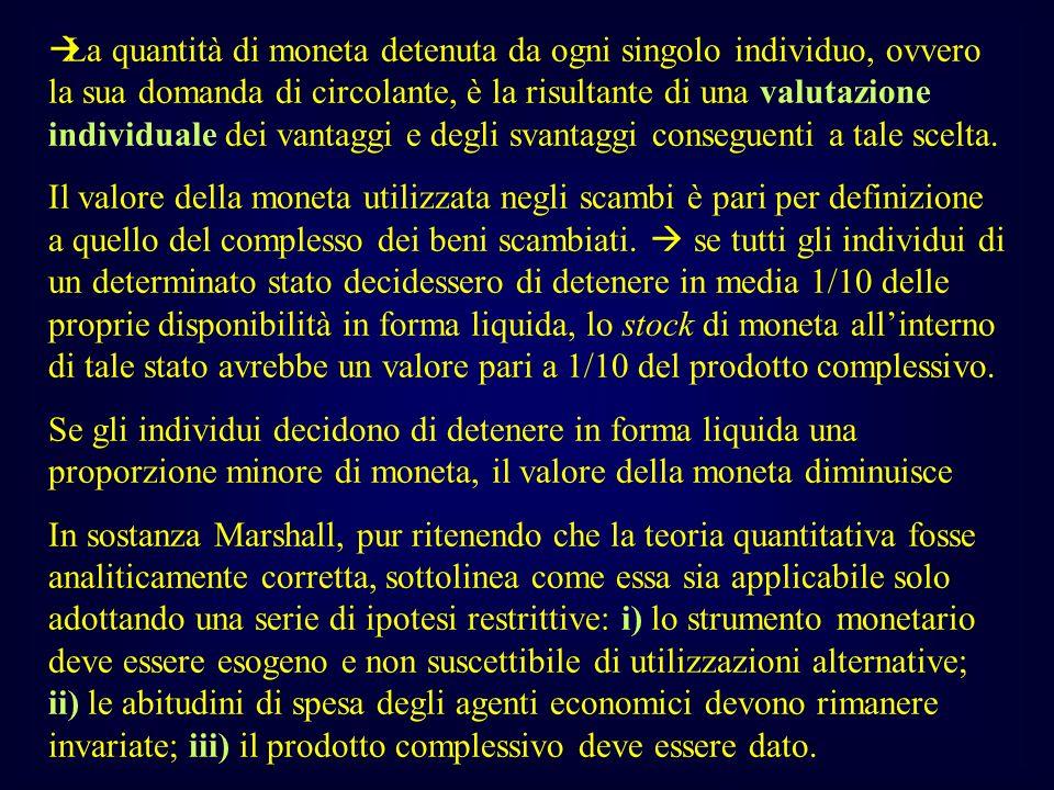 La quantità di moneta detenuta da ogni singolo individuo, ovvero la sua domanda di circolante, è la risultante di una valutazione individuale dei vant