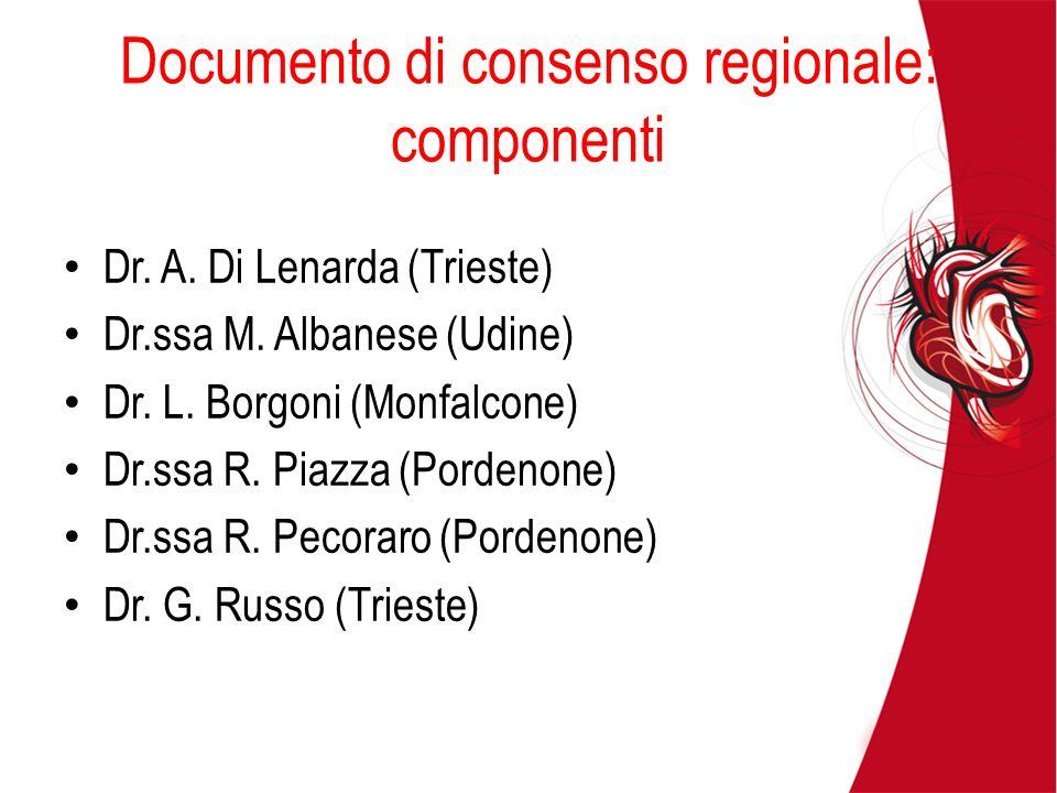 Documento di consenso regionale: componenti Dr. A. Di Lenarda (Trieste) Dr.ssa M. Albanese (Udine) Dr. L. Borgoni (Monfalcone) Dr.ssa R. Piazza (Porde