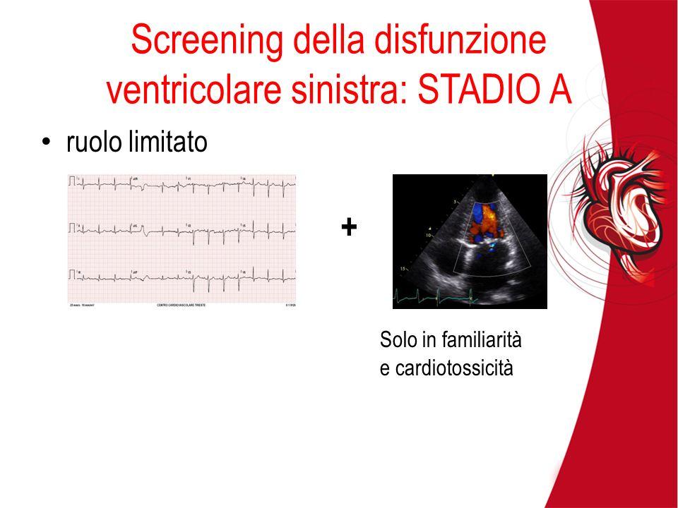Screening della disfunzione ventricolare sinistra: STADIO A ruolo limitato Solo in familiarità e cardiotossicità +