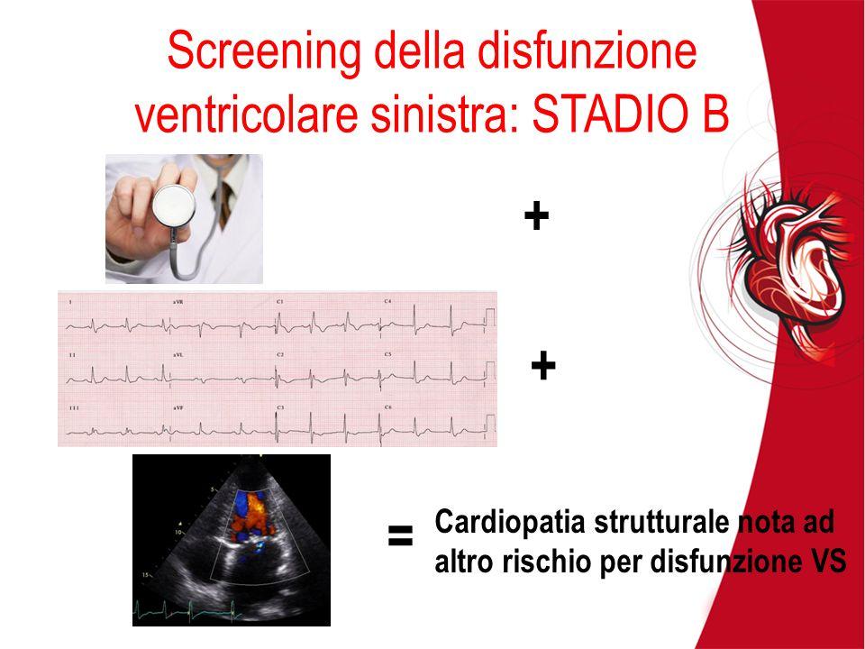 Screening della disfunzione ventricolare sinistra: STADIO B + + = Cardiopatia strutturale nota ad altro rischio per disfunzione VS