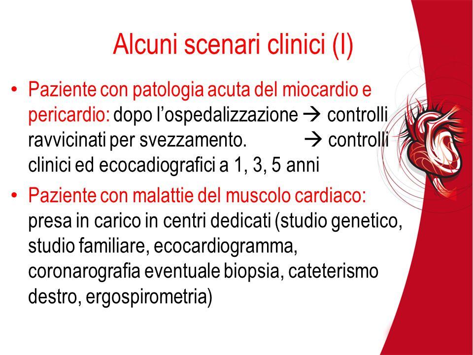 Alcuni scenari clinici (I) Paziente con patologia acuta del miocardio e pericardio: dopo lospedalizzazione controlli ravvicinati per svezzamento. cont