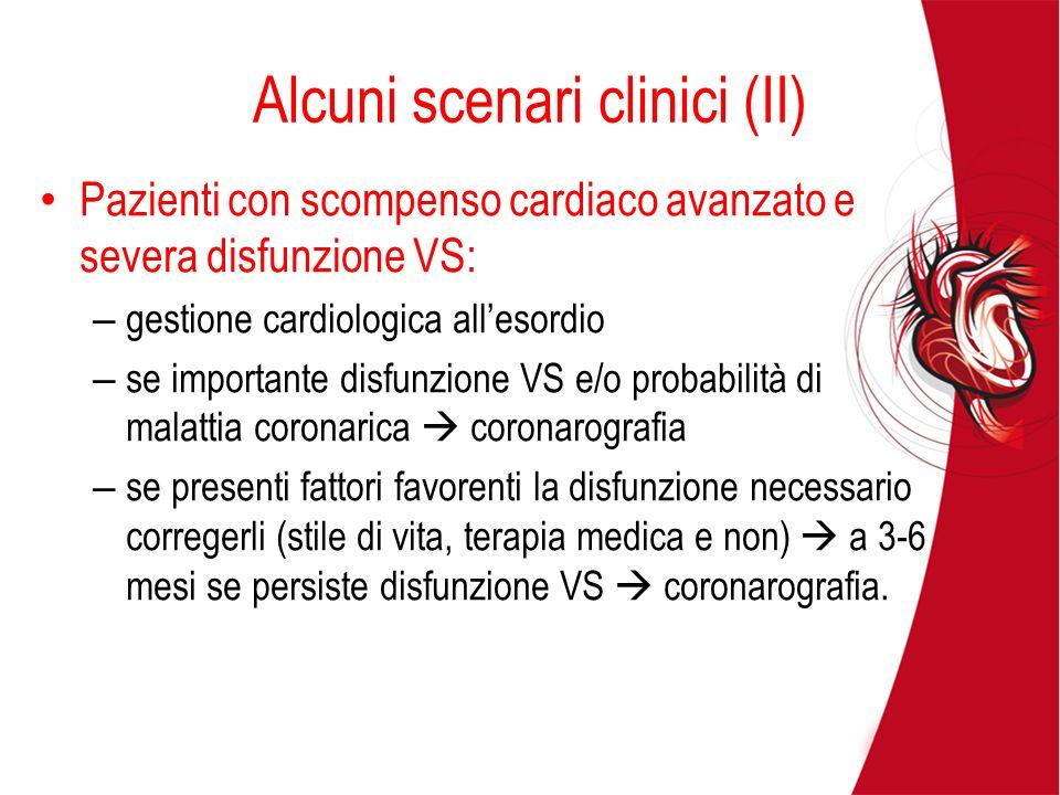 Alcuni scenari clinici (II) Pazienti con scompenso cardiaco avanzato e severa disfunzione VS: – gestione cardiologica allesordio – se importante disfu