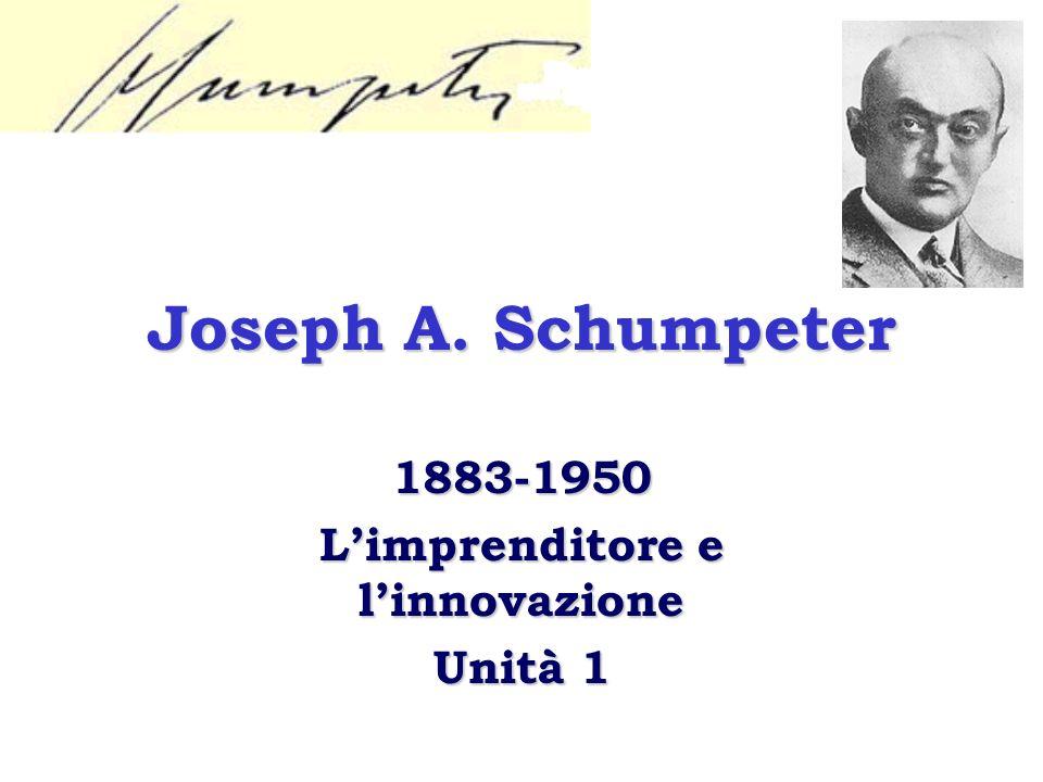 Joseph A. Schumpeter 1883-1950 Limprenditore e linnovazione Unità 1