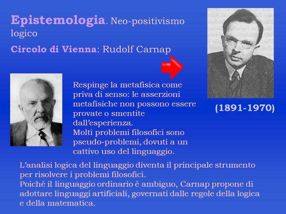 Epistemologia. Neo-positivismo logico Circolo di Vienna : Rudolf Carnap (1891-1970) Lanalisi logica del linguaggio diventa il principale strumento per