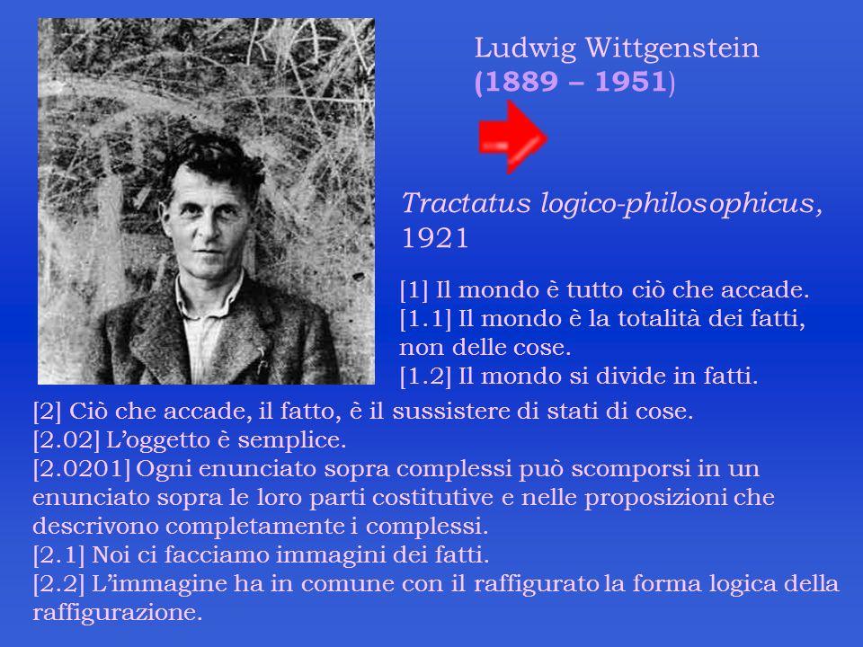 Ludwig Wittgenstein (1889 – 1951 ) Tractatus logico-philosophicus, 1921 [1] Il mondo è tutto ciò che accade. [1.1] Il mondo è la totalità dei fatti, n