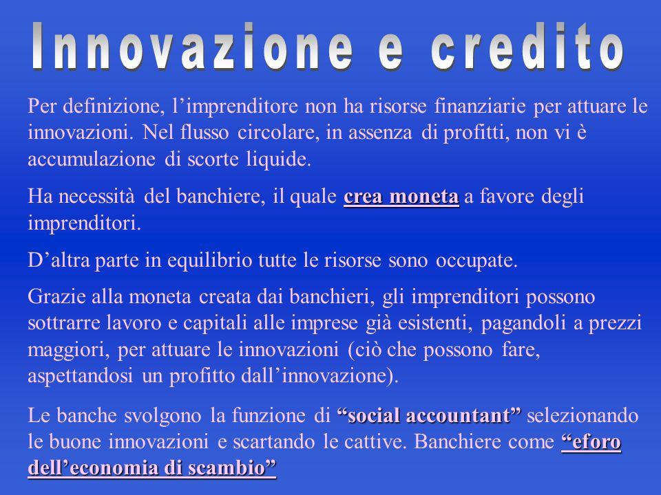 Per definizione, limprenditore non ha risorse finanziarie per attuare le innovazioni. Nel flusso circolare, in assenza di profitti, non vi è accumulaz