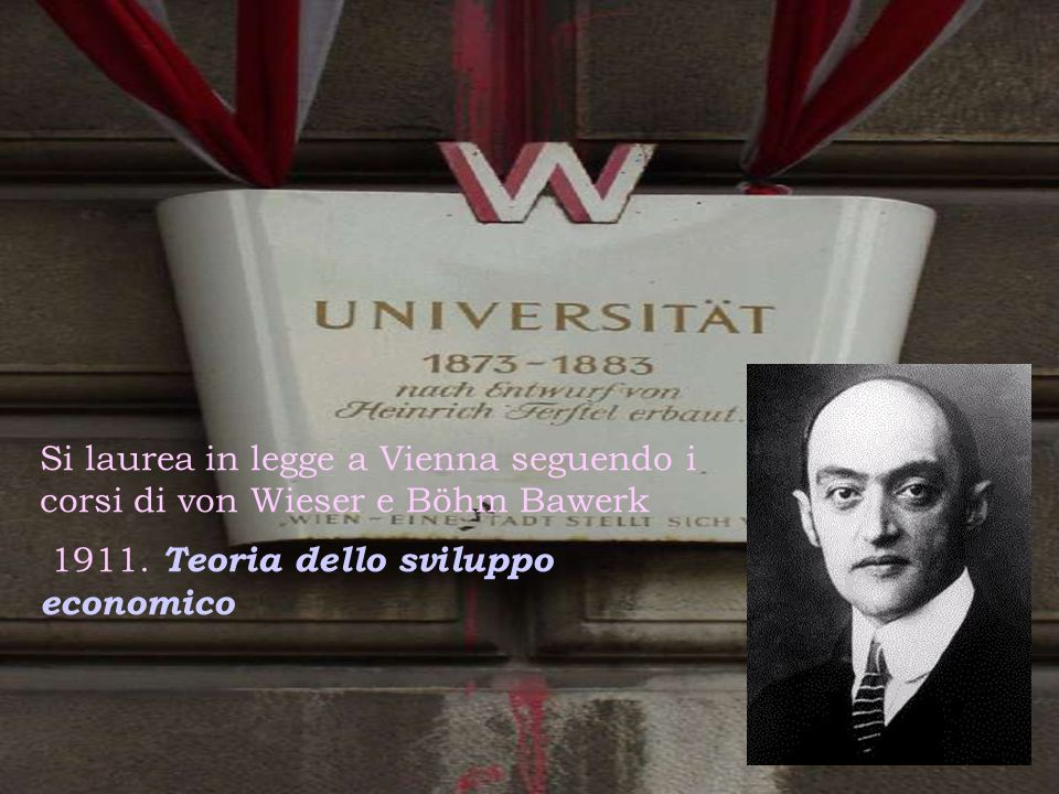 Si laurea in legge a Vienna seguendo i corsi di von Wieser e Böhm Bawerk 1911. Teoria dello sviluppo economico