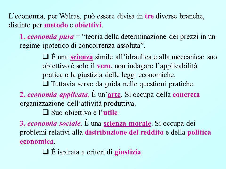 Leconomia, per Walras, può essere divisa in tre diverse branche, distinte per metodo e obiettivi.