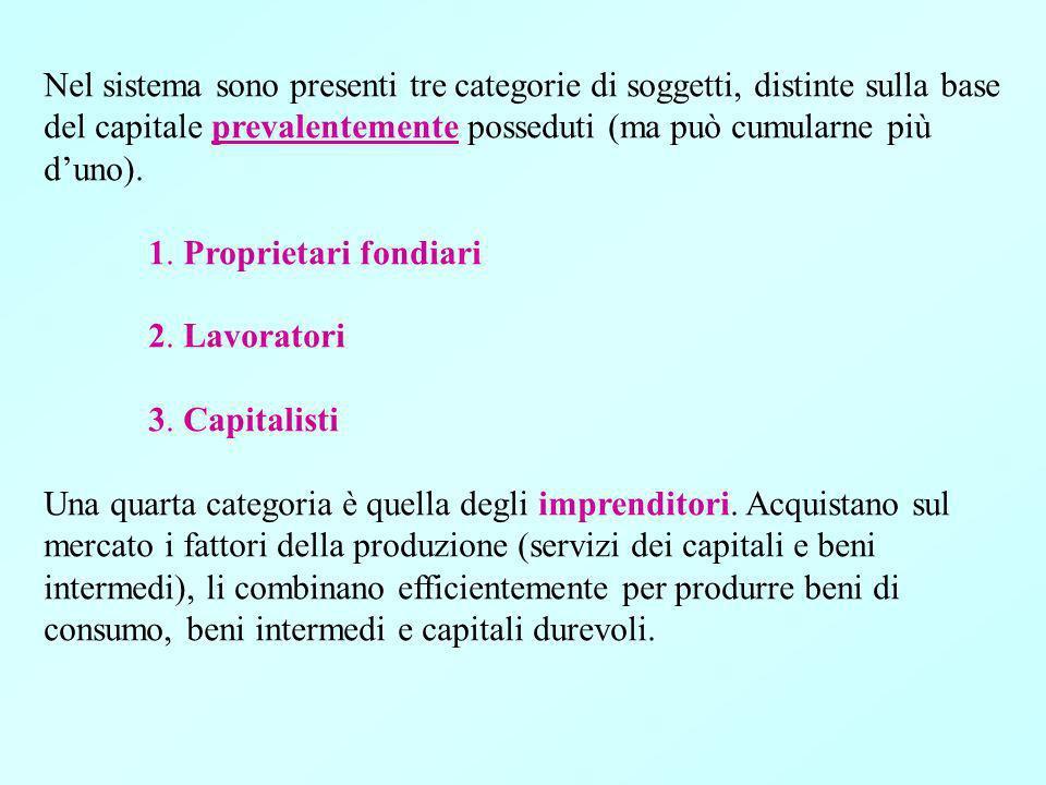 Nel sistema sono presenti tre categorie di soggetti, distinte sulla base del capitale prevalentemente posseduti (ma può cumularne più duno).
