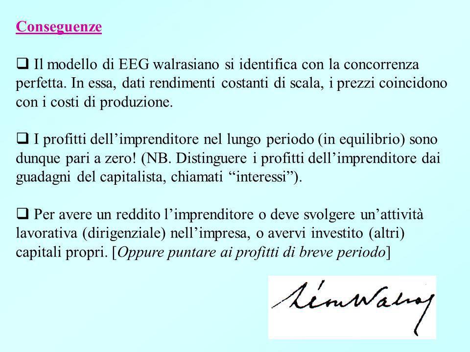 Conseguenze Il modello di EEG walrasiano si identifica con la concorrenza perfetta.