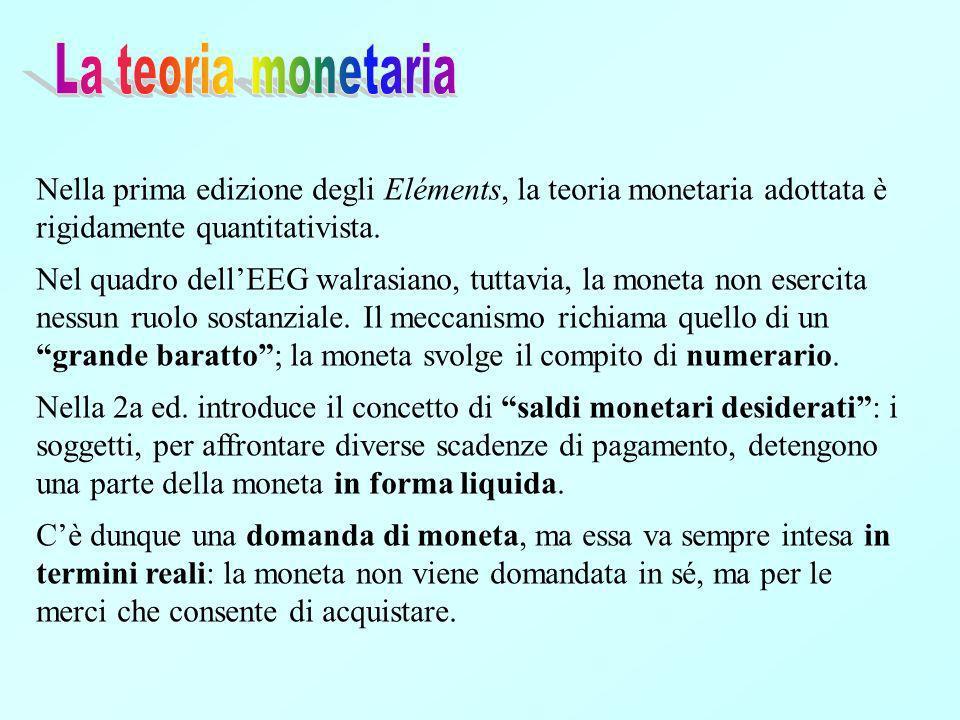 Nella prima edizione degli Eléments, la teoria monetaria adottata è rigidamente quantitativista.