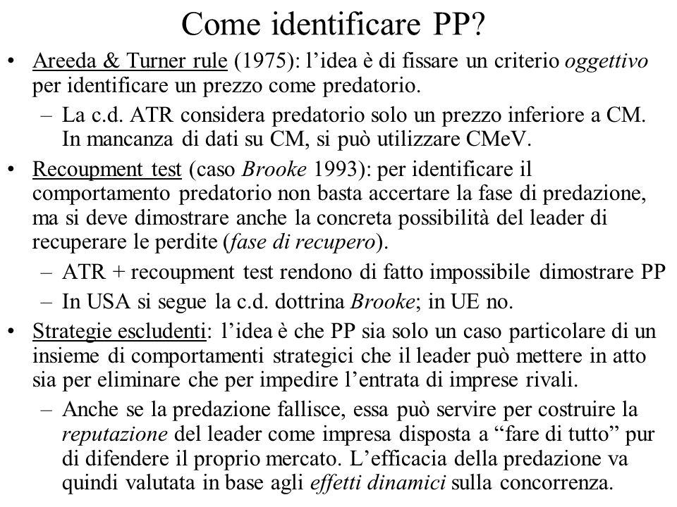 Come identificare PP? Areeda & Turner rule (1975): lidea è di fissare un criterio oggettivo per identificare un prezzo come predatorio. –La c.d. ATR c