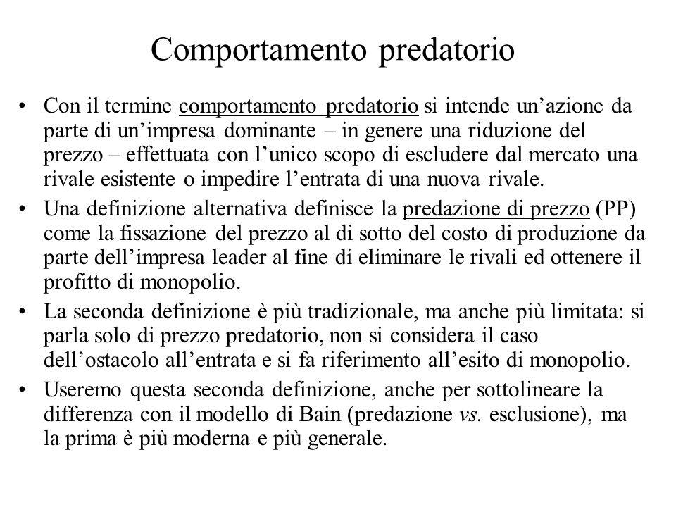 Comportamento predatorio Con il termine comportamento predatorio si intende unazione da parte di unimpresa dominante – in genere una riduzione del pre