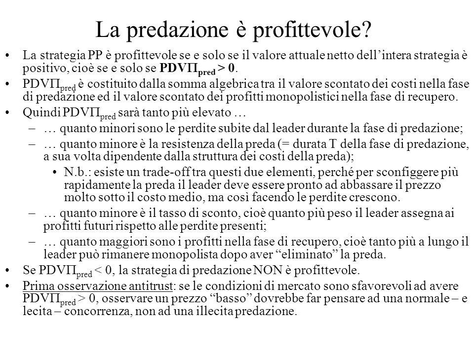 La predazione è profittevole? La strategia PP è profittevole se e solo se il valore attuale netto dellintera strategia è positivo, cioè se e solo se P