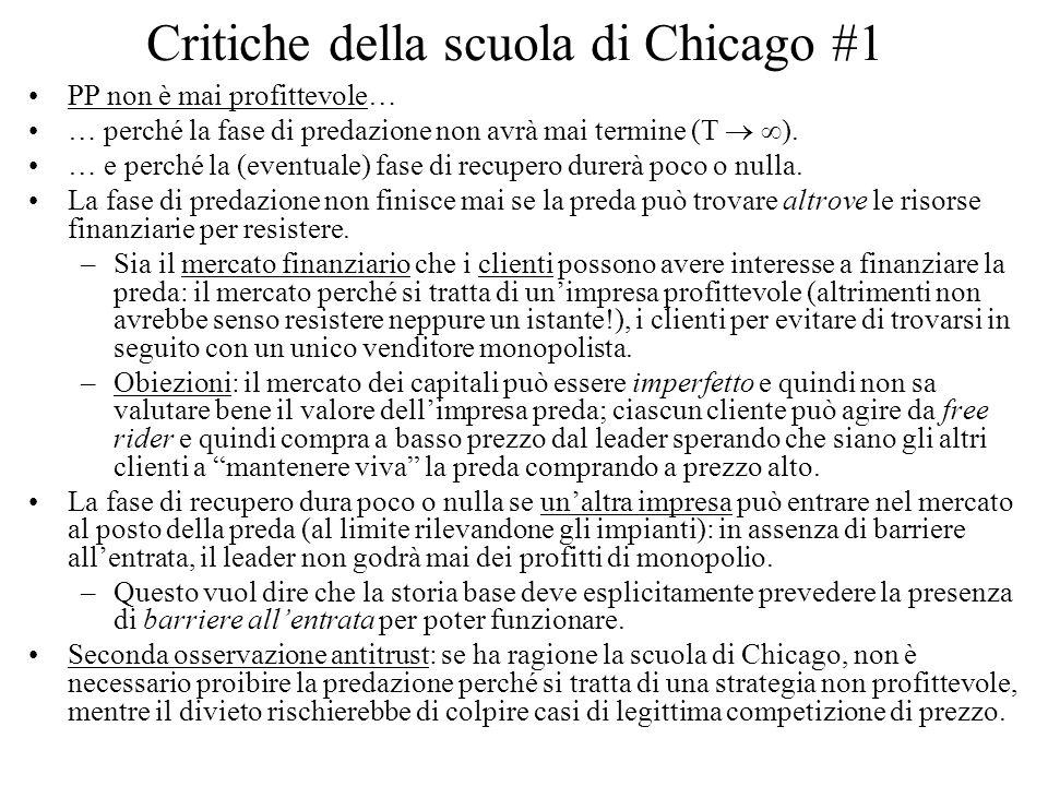 Critiche della scuola di Chicago #1 PP non è mai profittevole… … perché la fase di predazione non avrà mai termine (T ). … e perché la (eventuale) fas