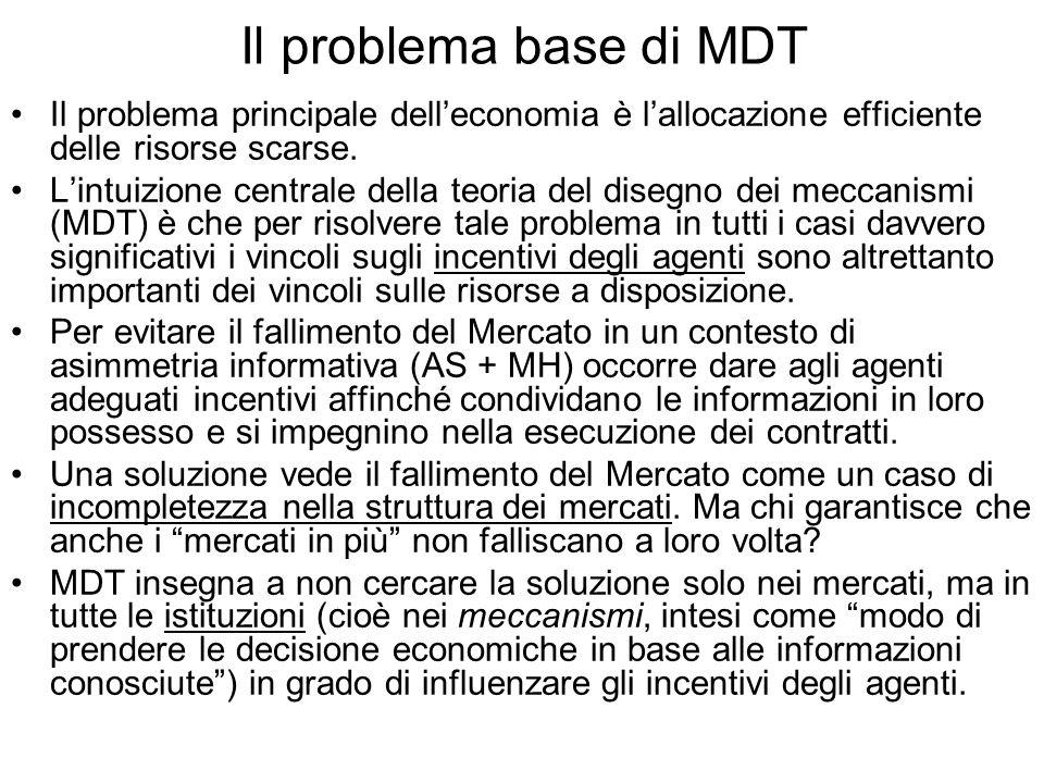Il problema base di MDT Il problema principale delleconomia è lallocazione efficiente delle risorse scarse. Lintuizione centrale della teoria del dise