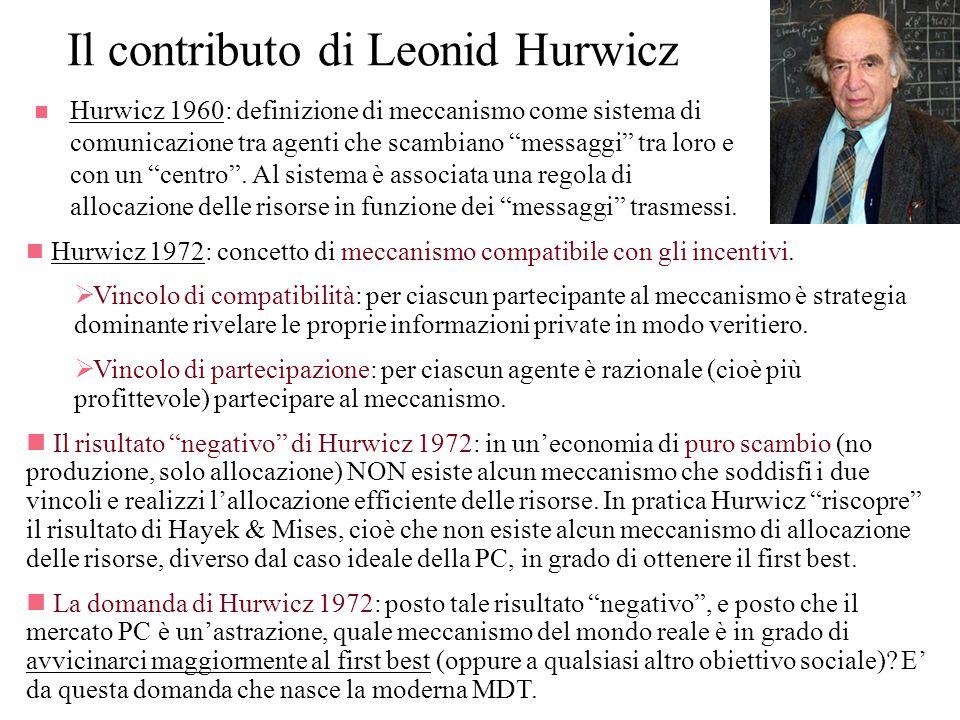 Il contributo di Leonid Hurwicz n Hurwicz 1960: definizione di meccanismo come sistema di comunicazione tra agenti che scambiano messaggi tra loro e c