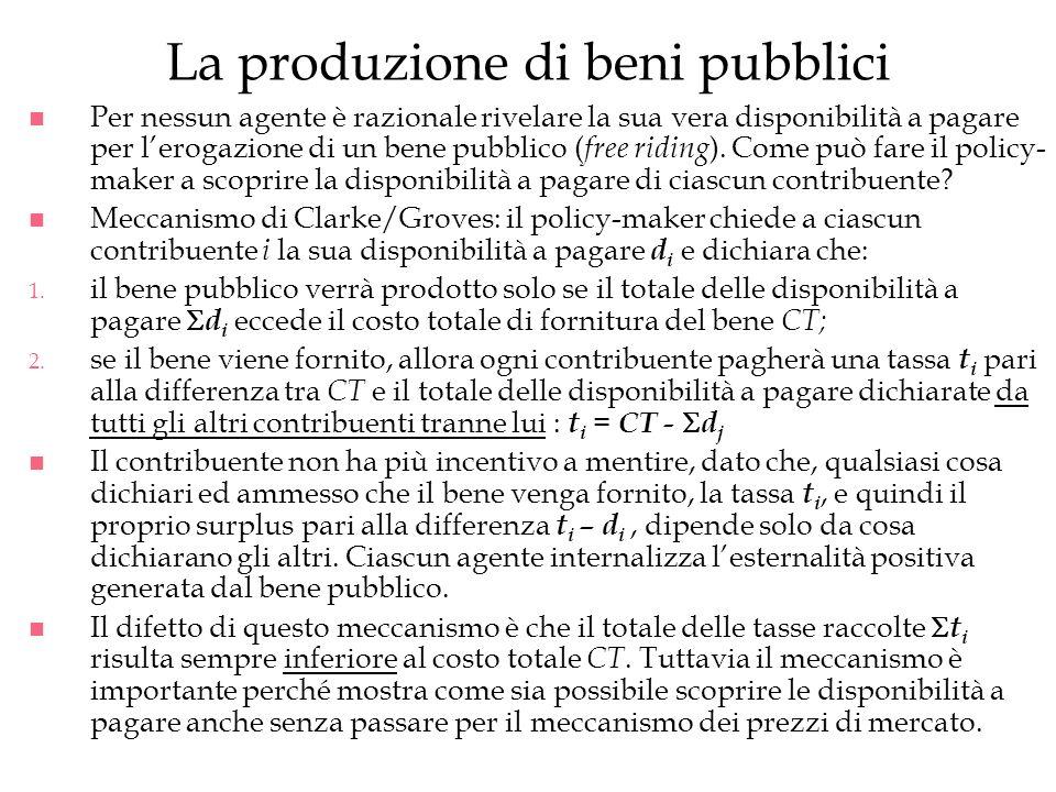 La produzione di beni pubblici n Per nessun agente è razionale rivelare la sua vera disponibilità a pagare per lerogazione di un bene pubblico ( free