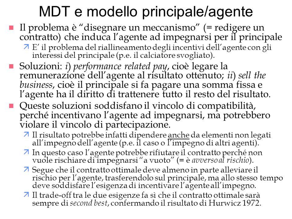 MDT e modello principale/agente n Il problema è disegnare un meccanismo (= redigere un contratto) che induca lagente ad impegnarsi per il principale ä