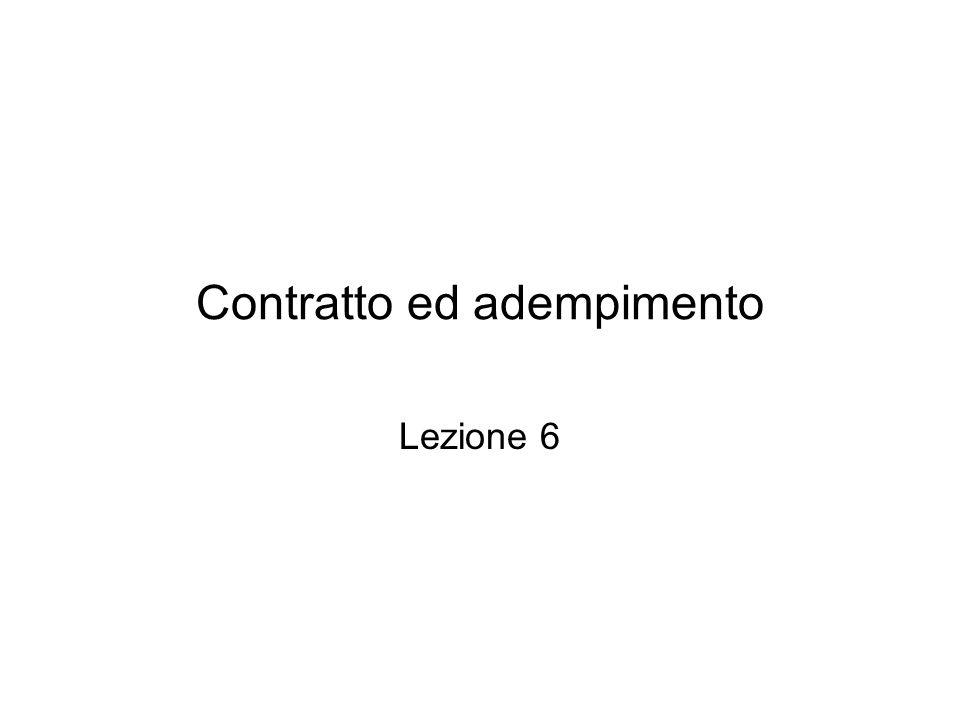Contratto ed adempimento Lezione 6