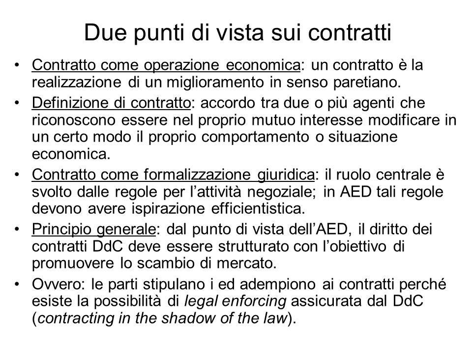 Due punti di vista sui contratti Contratto come operazione economica: un contratto è la realizzazione di un miglioramento in senso paretiano. Definizi