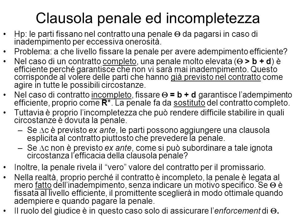 Clausola penale ed incompletezza Hp: le parti fissano nel contratto una penale da pagarsi in caso di inadempimento per eccessiva onerosità. Problema: