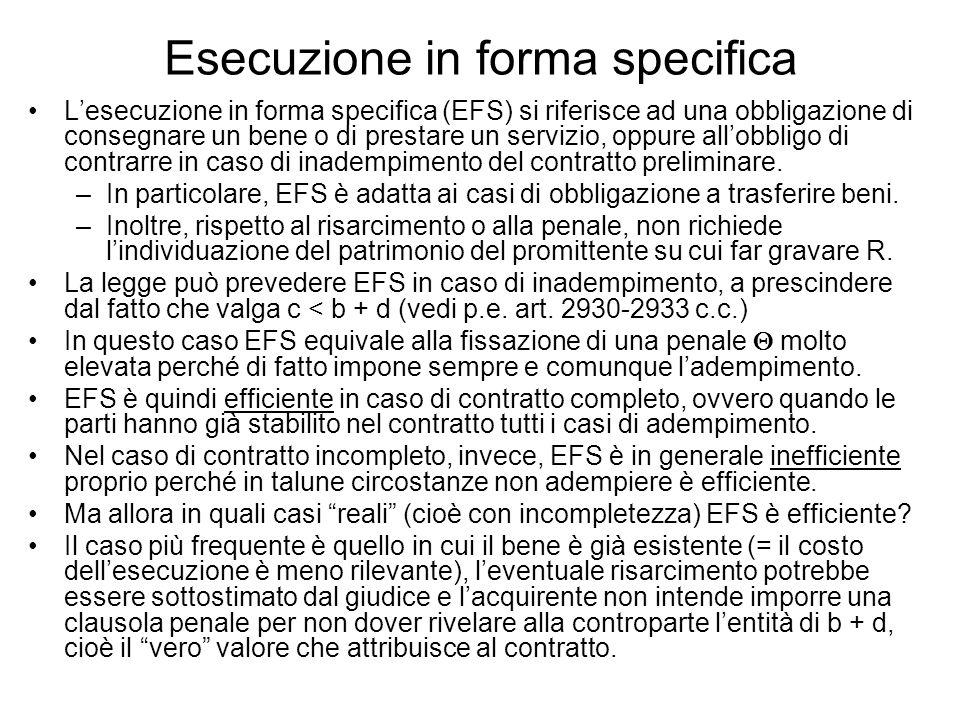 Esecuzione in forma specifica Lesecuzione in forma specifica (EFS) si riferisce ad una obbligazione di consegnare un bene o di prestare un servizio, oppure allobbligo di contrarre in caso di inadempimento del contratto preliminare.