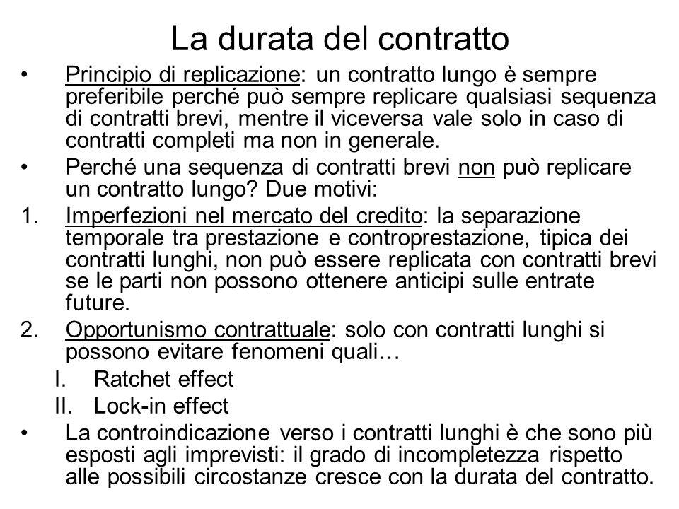 La durata del contratto Principio di replicazione: un contratto lungo è sempre preferibile perché può sempre replicare qualsiasi sequenza di contratti