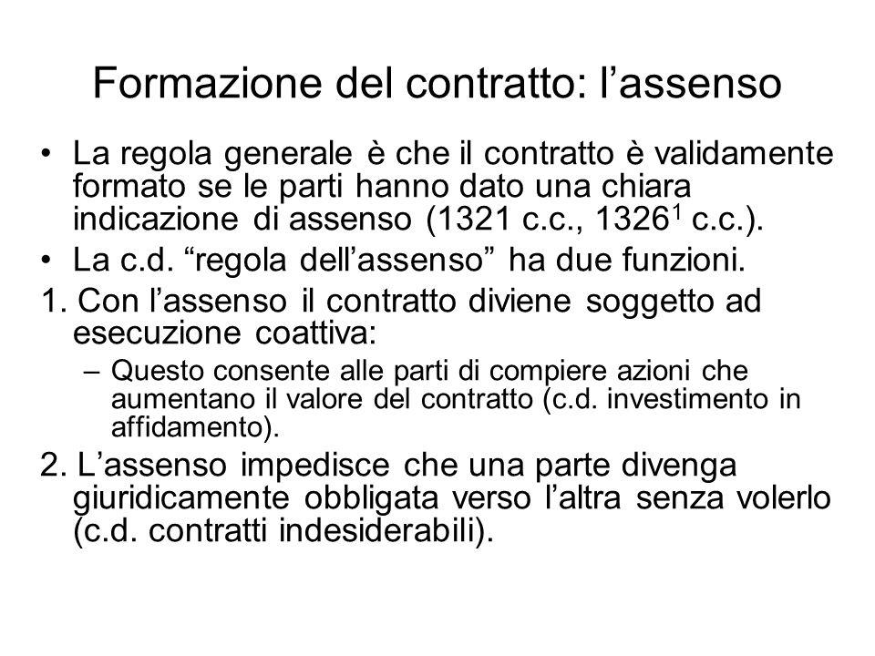 Formazione del contratto: lassenso La regola generale è che il contratto è validamente formato se le parti hanno dato una chiara indicazione di assenso (1321 c.c., 1326 1 c.c.).