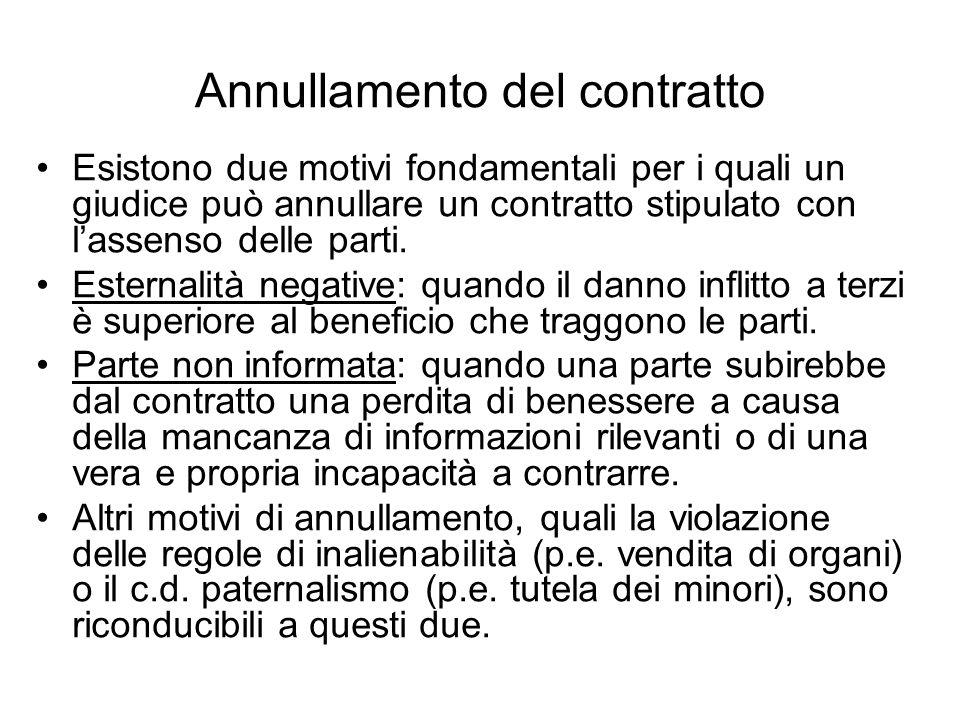 Rinegoziazione In assenza di informazione asimmetrica, una clausola che dia la possibilità di rinegoziare il contratto può evitare linefficienza.
