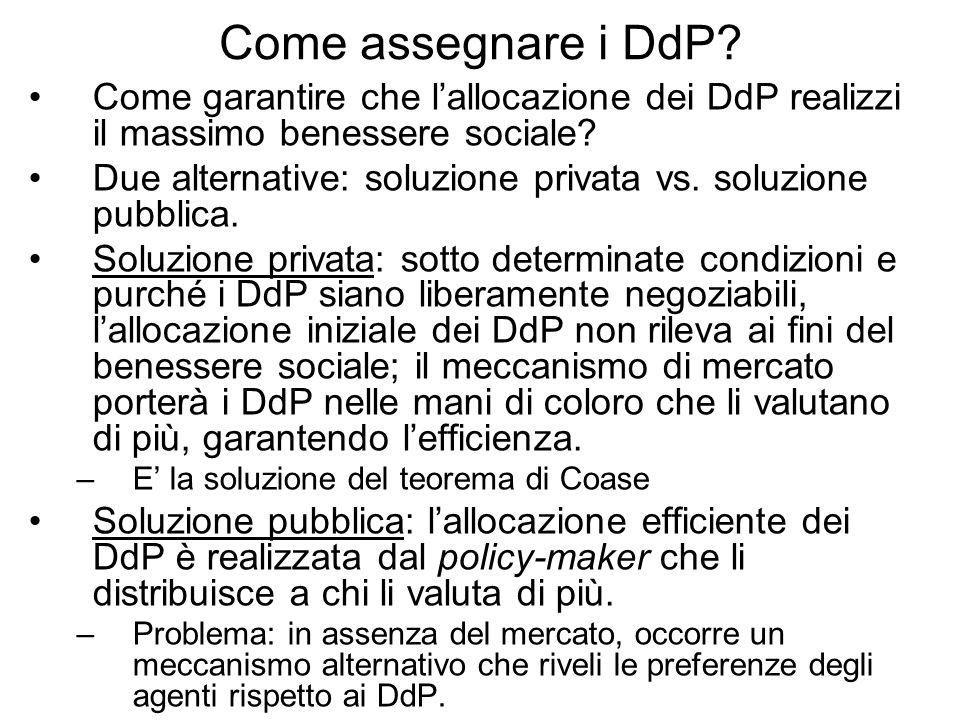 Come assegnare i DdP? Come garantire che lallocazione dei DdP realizzi il massimo benessere sociale? Due alternative: soluzione privata vs. soluzione